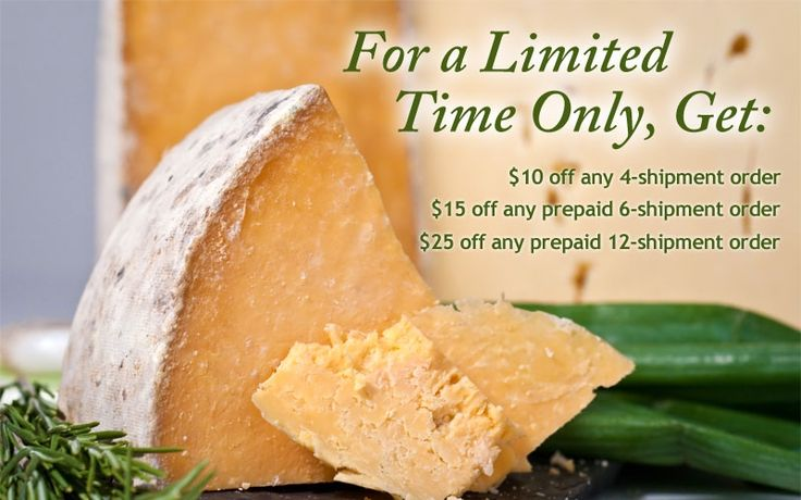 The Gourmet Cheese of the Month Club delivers 3, ½-lb. artisanal cheeses sourced from the world's leading cheesemakers. You'll get expertly-selected, hand-crafted cheeses that have been carefully aged in each shipment. New Year's Sale: save up to $25 on a 12-month Cheese Club membership!