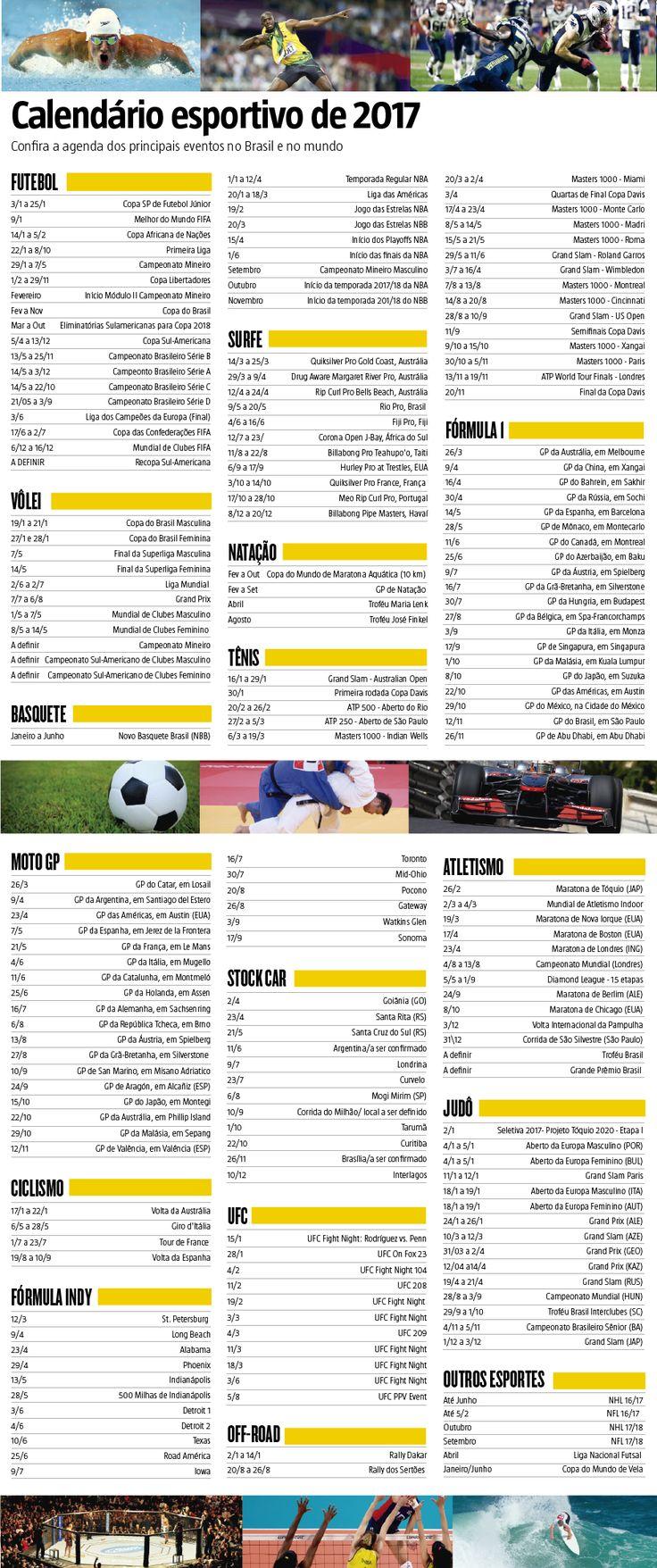 Calendário esportivo de 2017: confira a agenda dos principais eventos no Brasil e no mundo (26/12/2016) #Esporte #Esportes #Futebol #Volei #Basquete #Surf #Surfe #Natação #Tênis #GrandSlam #ATP #Masters1000 #CopaDavis #F1 #Formula1 #Moto #MotoGP #Ciclismo #FormulaIndy #OffRoad #UFC #MMA #StockCar #Atletismo #Judô #NFL #NHL #Futsal #Infográfico #Infografia #HojeEmDia