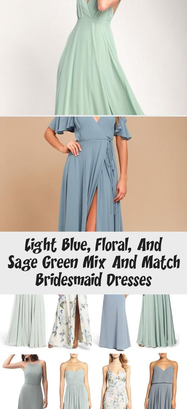 Blue floral and mist sage green mismatched bridesmaid dresses by Jenny Yoo #NeutralBridesmaidDresses #UniqueBridesmaidDresses #BridesmaidDressesColors #PlumBridesmaidDresses #BridesmaidDressesWithSleeves