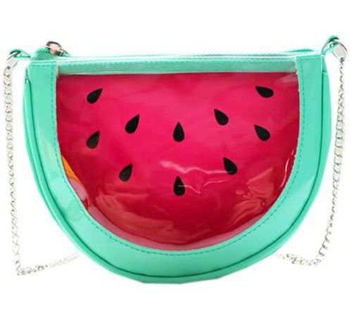 Chain shoulder bag, featuring single gold-tone shoulder strap, transparent watermelon design, zippered closure on top. http://www.zocko.com/z/JFNMd