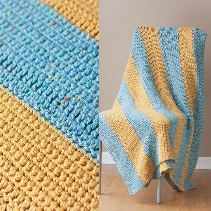 Easy Beginner Crochet Blanket By Margo - an easy striped blanket never goes out of style