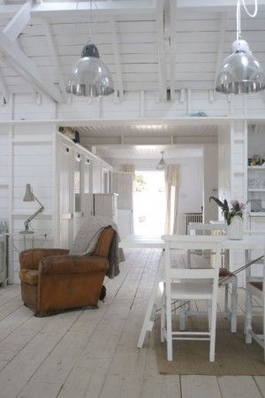 Love the industrial lights. The old warn, leather armchair. Simple white. Rustic boards.
