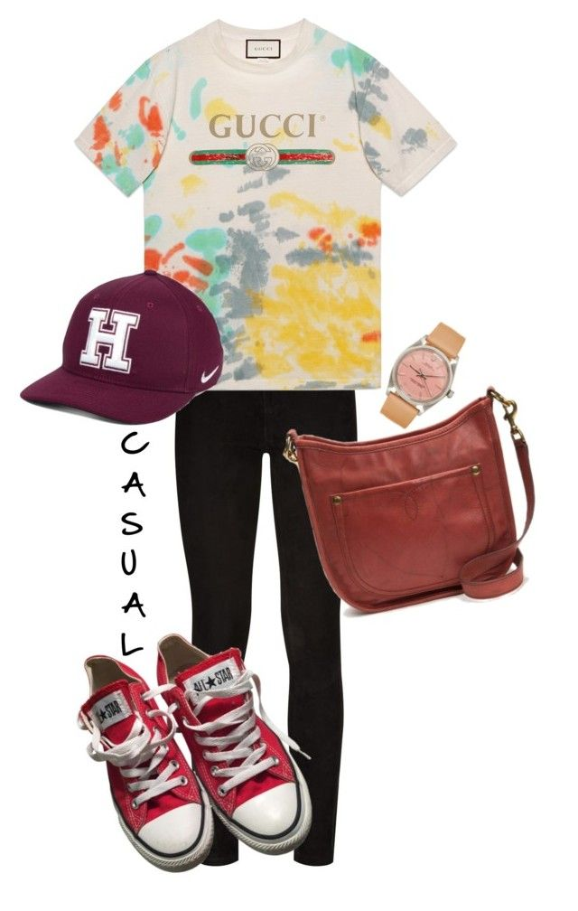 """Casual"" by egaemgyu on Polyvore featuring Paige Denim, Gucci, Converse, Frye and NIKE"