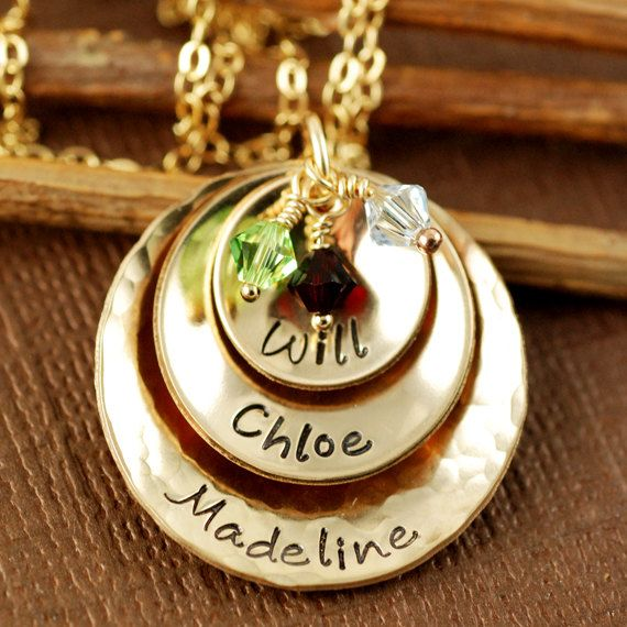 Hand Stamped Necklace 14kt Gold Filled Necklace  by AnnieReh, $115.00