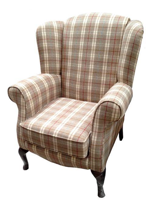 Sheeps Wool Check Fabric Queen Anne Chair