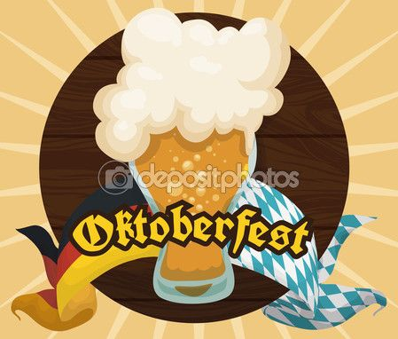 Poster with Wooden Tap and Frothy Beer for Oktoberfest Celebration, Vector Illustration — Stock Illustration #124502516