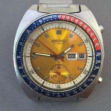 Vintage Seiko Automatic Chronograph Pogue Men's Watch. Pepsi.