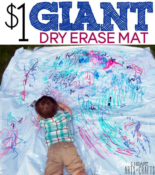 Use a clear shower curtain liner to make a dry-erase sheet your kid can draw all over.
