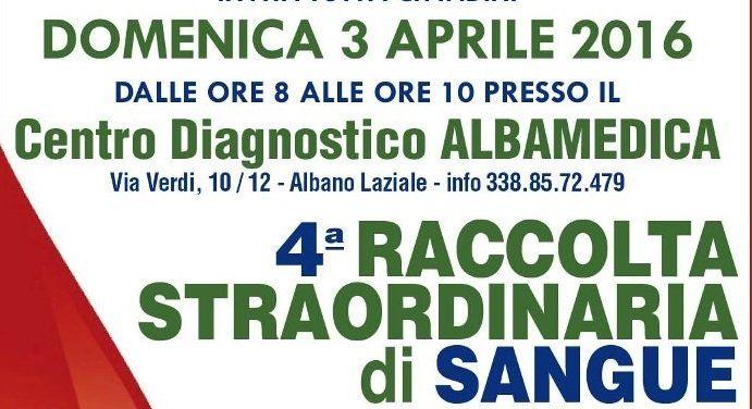Ad Albano la IV Raccolta Straordinaria di sangue. Alle donatrici test ormonale tiroideo gratuito.