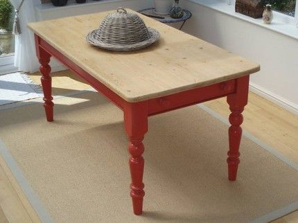 Red And Natural Painted Table