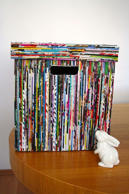 rolled magazine pages cover this storage box. That's lots of work!