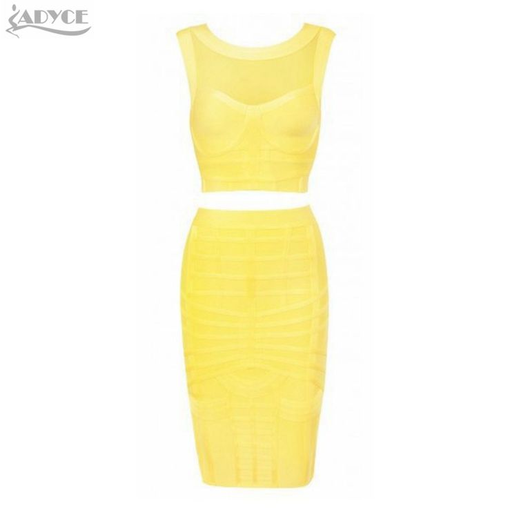 >> Click to Buy << 2017 New Style Yellow Ladies New Fashion Bandage Dress 2 Pieces Sexy Knee-length Bodycon Dress Club Night Tight Party Dresses #Affiliate