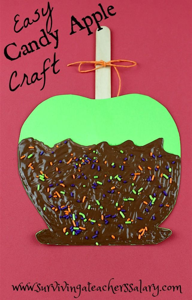 Easy Candy Apple Fall Craft for kids - I wish there was a love button! This sensory sweet treat craft idea is exactly what I needed for our fall festival theme at school! Perfect preschool hands on time that you can modify for larger groups.