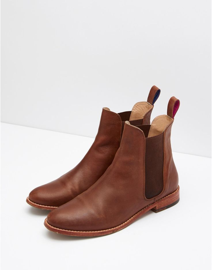 Brown leather chelsea boots, Womens