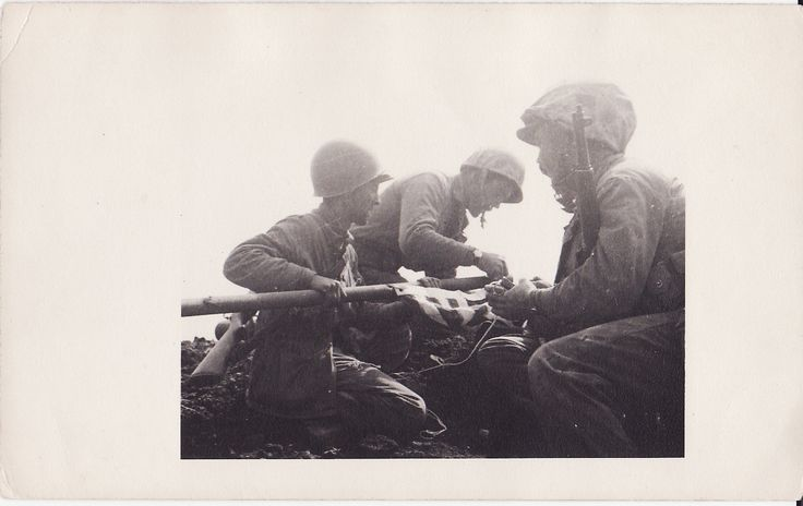 First flag raisers on Iwo Jima, courtesy of Betty Michels McMahon, daughter of Jimmy Michels, one of the first flag-raisers. More about the event and its aftermath: http://www.boysofwwii.blogspot.com/2011/04/two-flags-of-iwo-jima-i-met-him-in.html