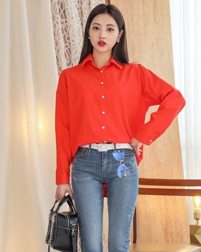 Solid Color Spread Collar Shirt CHLO.D.MANON   #red #collared #shirt #vivid #koreanfashion #kstyle #kfashion #seoul #dailylook #springtrend
