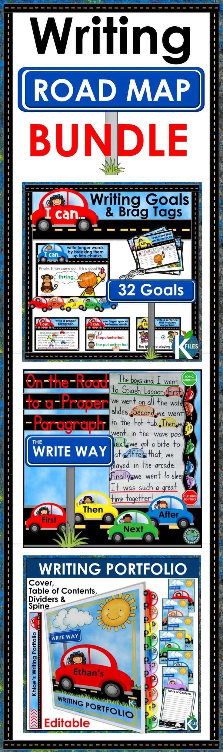 """You will love this bundle of Writing resources to keep your students on the Write Track. Included: Writing Goal Posters and Brag Tags with """"I can"""" statements, On the Road to Proper Paragraph Writing bulletin board set, and Writing Portfolio Cover, Dividers, Table of Contents and Spine. TheKausFiles.blogspot.com"""