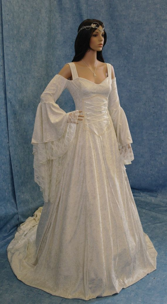Renaissance medieval handfasting  wedding dress  hobbit custom made
