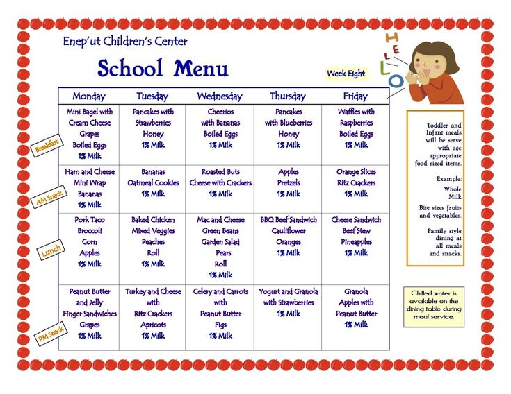 Daycare Food Menu Gse Bookbinder Co
