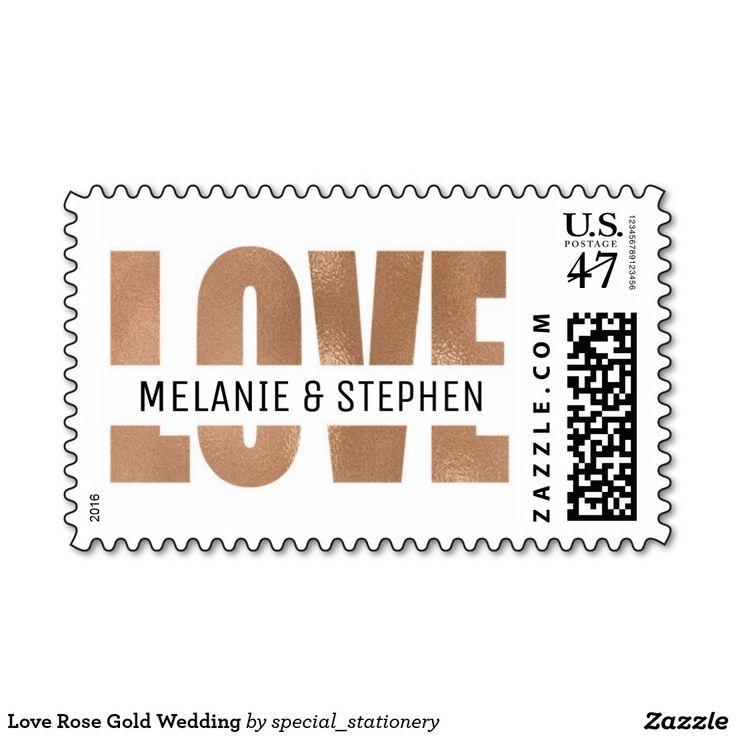 Love Rose Gold Wedding Custom Postage Stamps