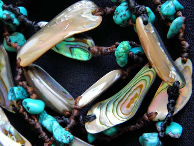 turquoise and pau shell on mixed waxed cotton necklace