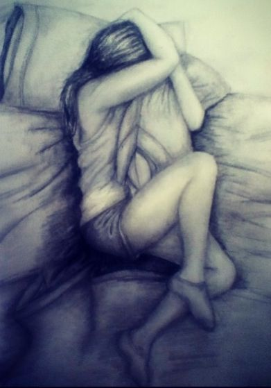 A sketch of feeling alone, pain, and heartbreak. Those nights you can't stop crying