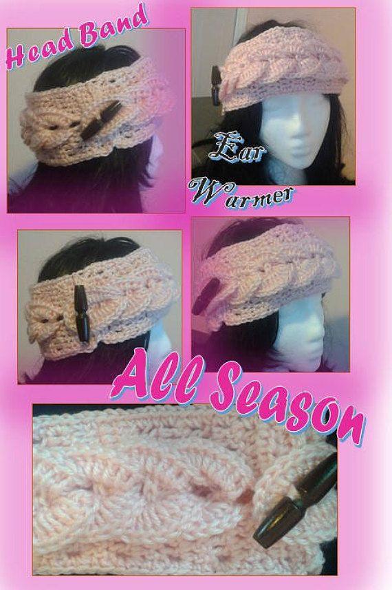 Head Band Crochet Ear Warmer All Season Head Wrap Etsy Unique Leaf Design Model Hand Made Toggle Button #crochet #headband
