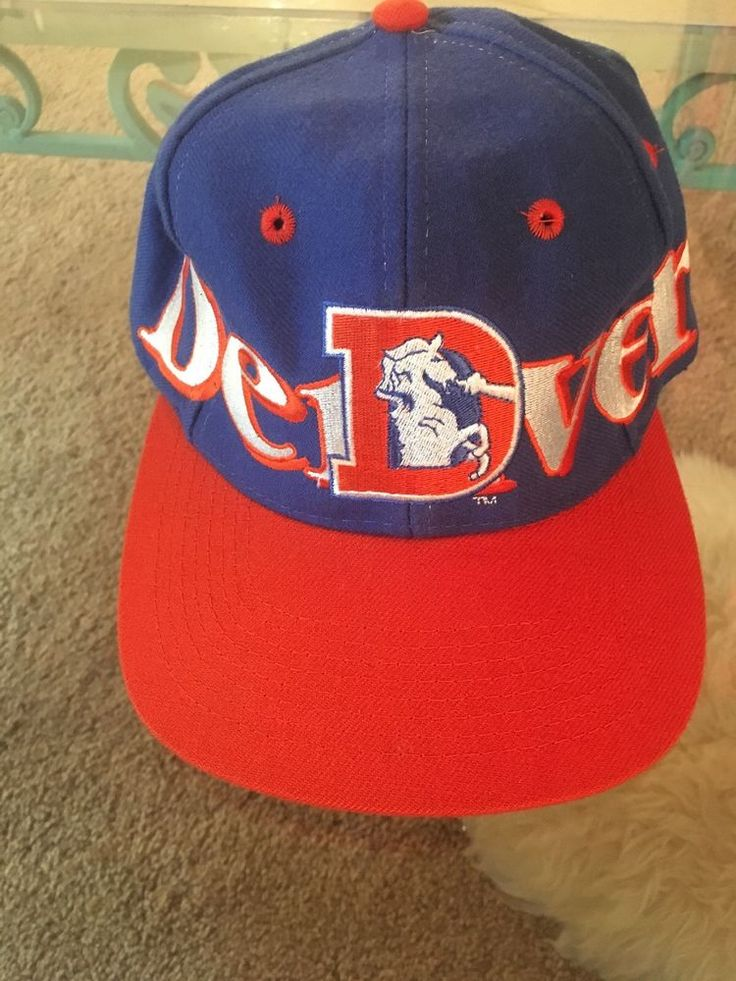 Denver Broncos Hat Vtg one size blue orange NFL Cap snap back LOGO 7  | eBay