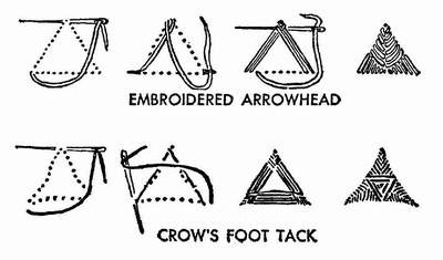 Fancy stitches: embroidered arrowhead, crow's foot tack