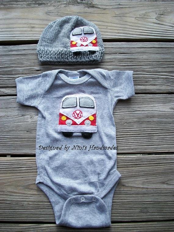 Knit VW BUS Baby Hat,   Onesie, Bodysuit Set, Vw Beetle, 70's style Vw applique Hat , Childrens clothing, Red VW Bus, Flower power, Heather. $39.00, via Etsy.