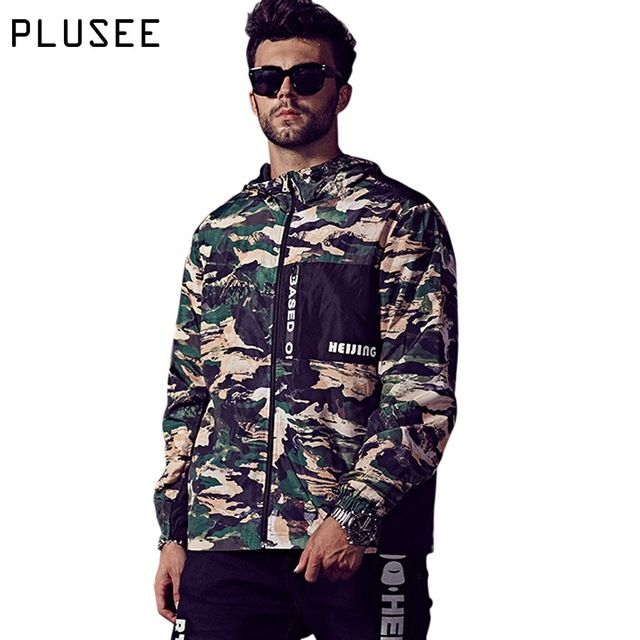 Buy now Plusee men windbreaker men casual plus size 2017 spring hooded fashion loose camouflage bomber jacket XL-6XL men windbreaker just only $26.20 with free shipping worldwide  #jacketscoatsformen Plese click on picture to see our special price for you