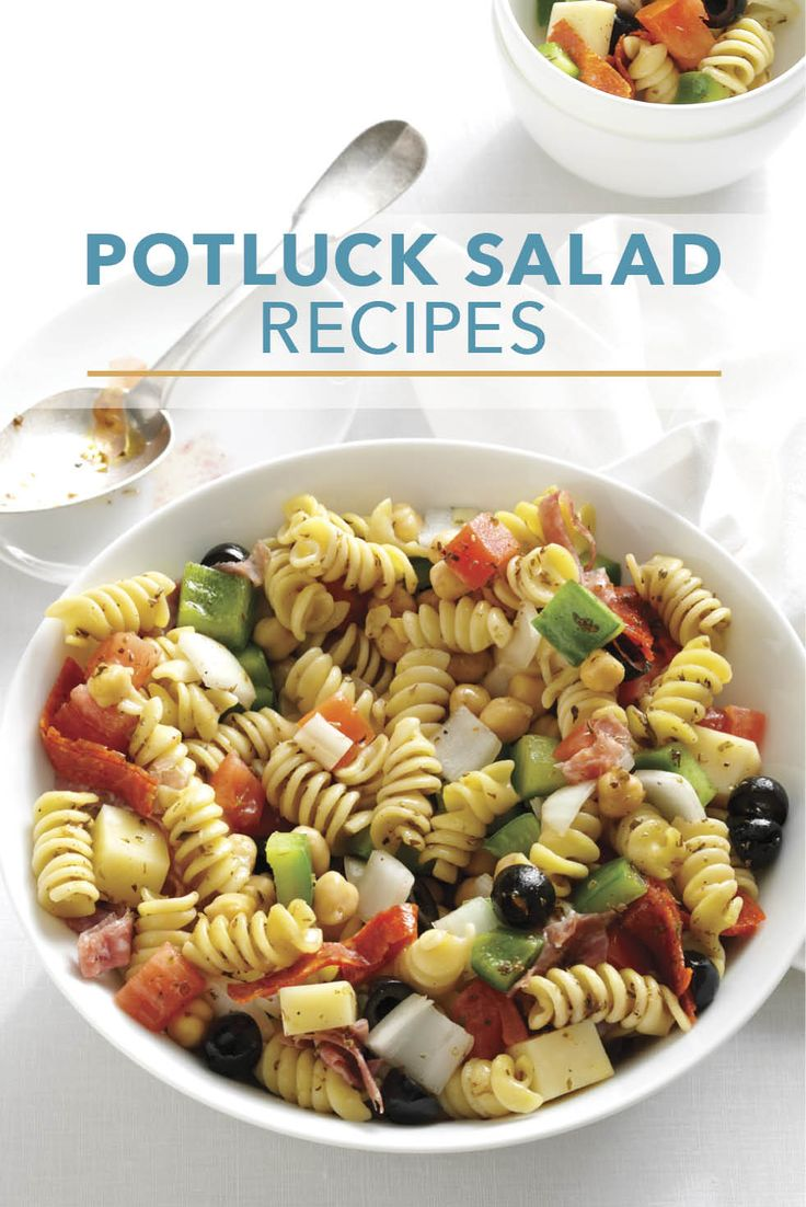 Be ready for requests for these recipes! Try crowd-pleasing potato, pasta, vegetable, taco and fruit salads that serve 12 or more for your next potluck. | 25 Potluck Salads to Feed a Crowd from Taste of Home
