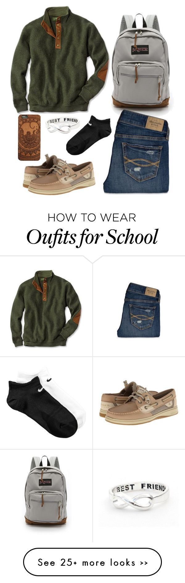 """""""school outfit"""" by countrygirl1898 on Polyvore featuring moda, JanSport, Abercrombie & Fitch, Sperry Top-Sider e NIKE"""