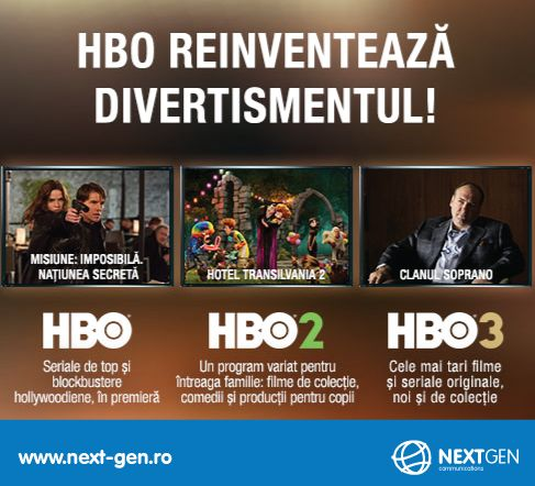Stai alaturi de noi si din 21 martie poti vedea noile posturi HBO, HBO 2 si HBO 3 la NextGen!