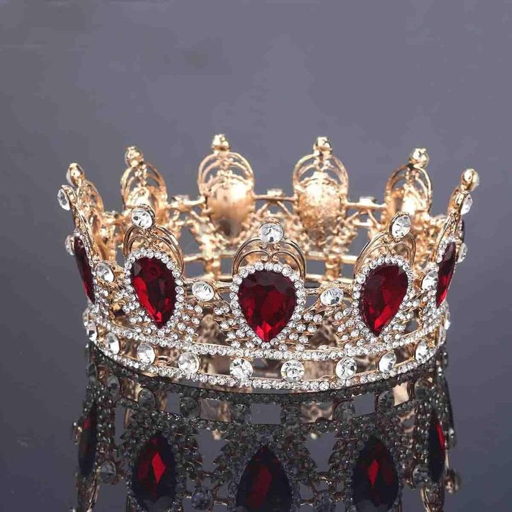 6cm High Ruby Red Sparkling Crystal Gold King Crown Wedding Prom Party Pageant US $18.51