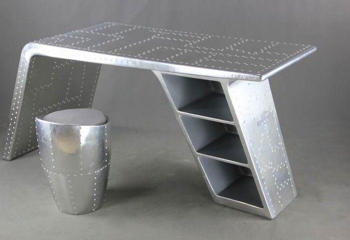Continental ferro mobiliário de design e personalidade criativa Industrial vintage pele de alumínio de mesa mesa de espaço em Mesas de metal…