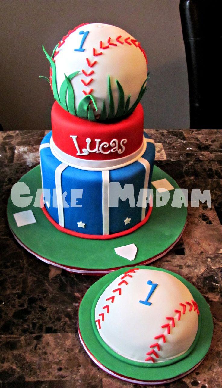 "Baby's 1st Baseball cake w/ matching smash - ""Happy 1st Birthday little slugger!"""