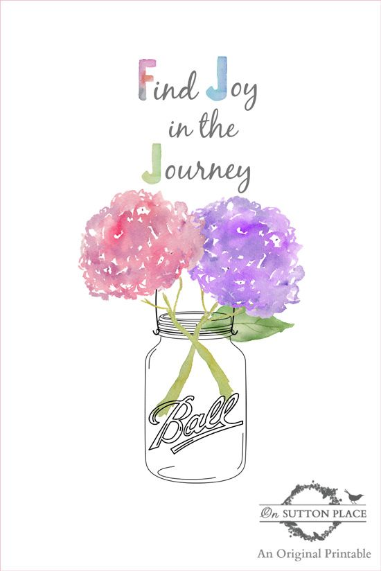Spring Summer Hydrangea Ball Jar Find Joy in the Journey Free Printable | On Sutton Place