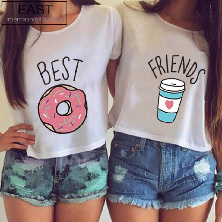 EAST KNITTING H599 2016 Hot Summer Women T-shirt Funny Best Friends T Shirt Donut And Coffee Duo Flowy Print Tees Couple Tops