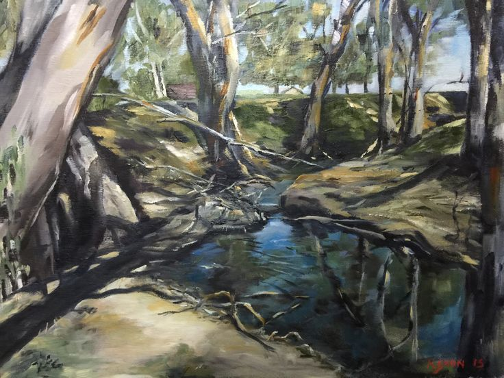 Australian bush landscape oil on canvas - private collection  Kialla Australia