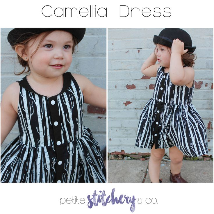 -This PDF Pattern is for sizes 2t-12 The Camellia dress has a classic scoop neck silhouette with waist darts for added detail. The gathered skirt adds interest to the thin button placket and retro collar. Collar options include; squared or round, single layered or double layered. Make the Camellia dress with sleeves for spring or…