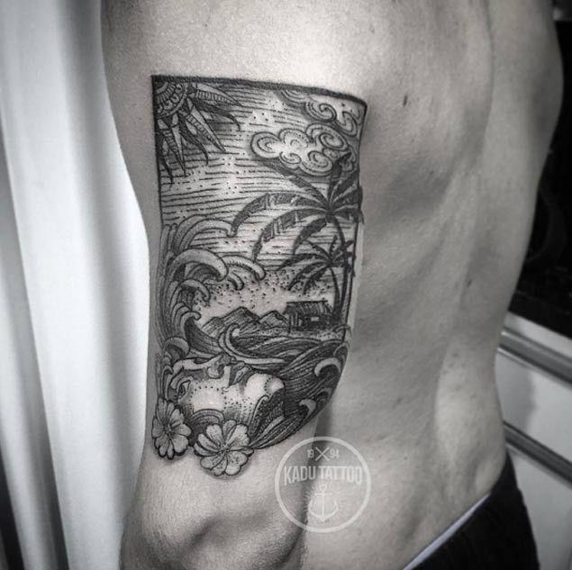 Tropical Wave Tattoo by Kadu