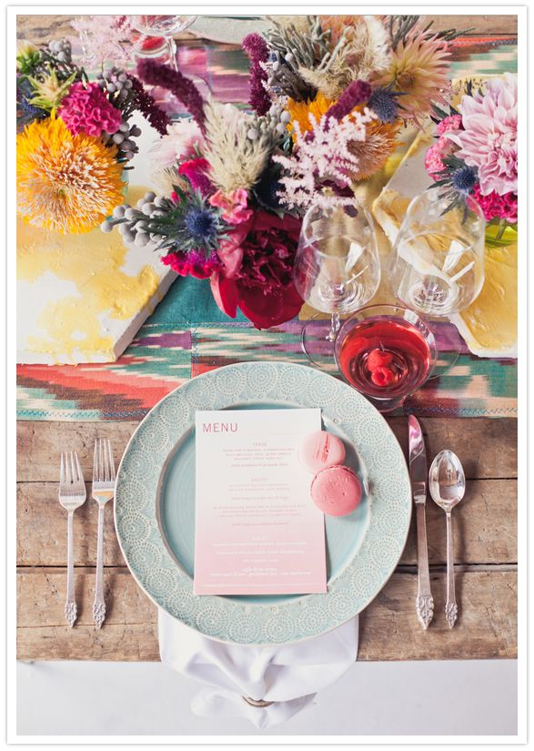 Eclectic table top and flowers