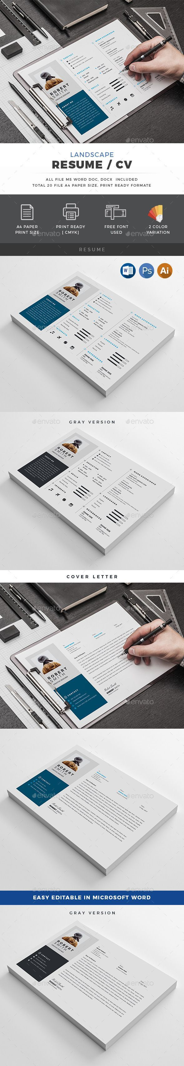 desktop support resume sample%0A Landscape Resume   Resumes Stationery Download Here   https   graphicriver net