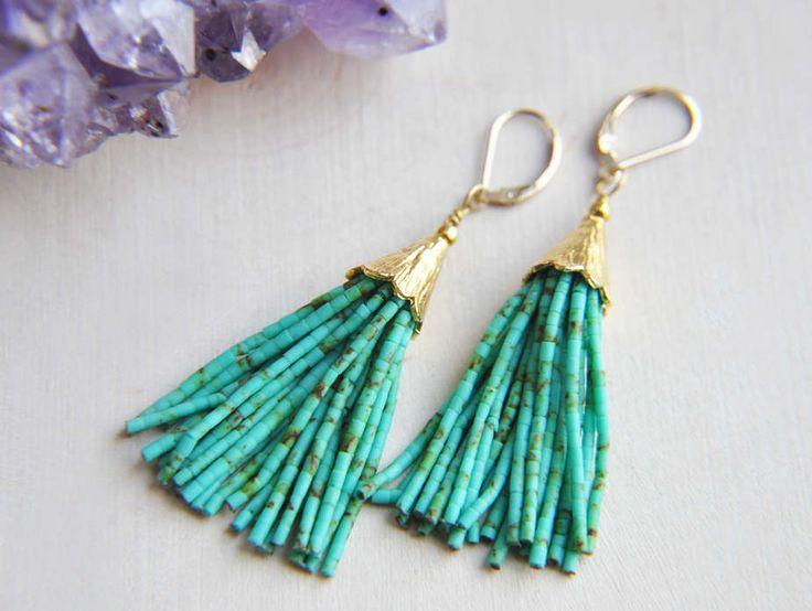 Turquoise Tassel Earrings, Tassel Earrings, Beaded Tassel Earrings, Festival Earrings, Bohemian Earrings, Boho Earrings, Long Earrings, by FawningInLove on Etsy