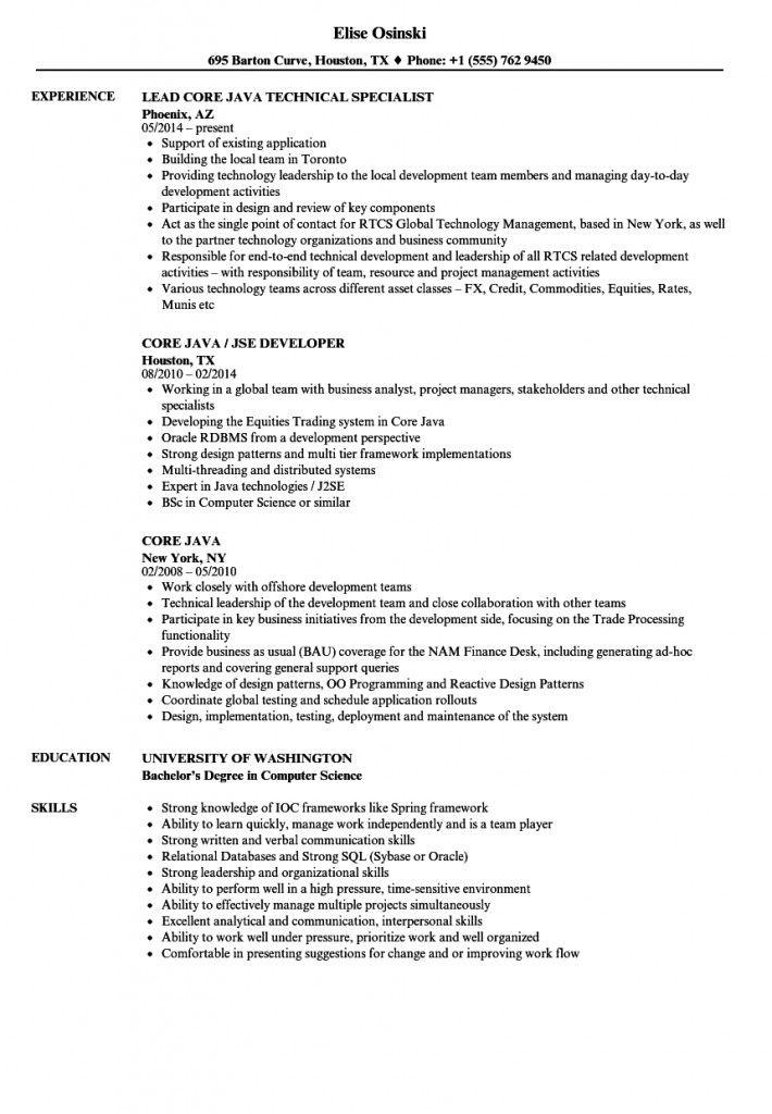 Core Java Developer Resume Sample 2021 Corejavadeveloperresumesample Corejavadeveloperresumesampleforfresh In 2021 Job Resume Samples Sales Resume Examples Resume