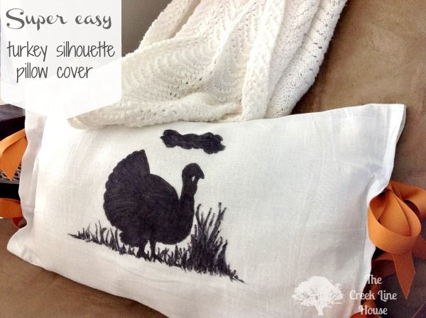 Super-Duper Easy Turkey Silhouette Pillow from The Creek Line HousePillows Covers, Cards Crafts Idease Prints, Cards Crafts Ideas Prints, Image Transfer, Creek, Easy Turkey, Diy Transfer, Super Dups Easy, Wax Paper