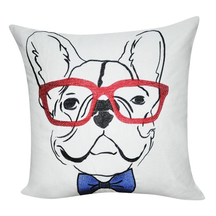 "21"" x 21"" White French Bulldog Decorative Pillow P0177-2121P"