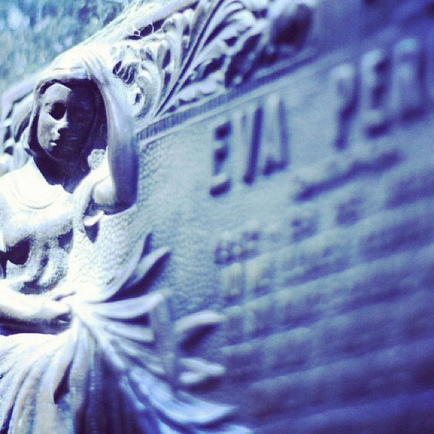 Up close at the most famous tombstone in Buenos Aires...