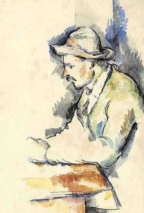 I giocatori di carte - Acquerello di Paul Cezanne - Pittore post-impressionista